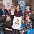 (l-r) Paraig O'Brien, Caroline McKeever, Sarah Travers., and Lynn Connaughton, Connected. Front row, Vonnie McWilliams, DIAL manager and Geraldine Lavery,